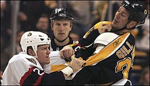 Hal Gill fights Chris Neil