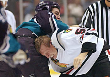 Todd Simpson BlackHawks Fight